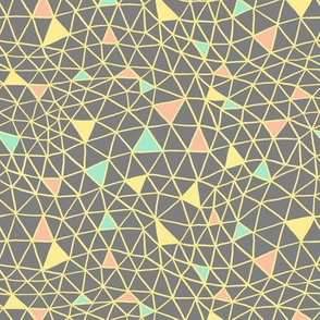 Geodesic Spiderweb in Yellow, Coral and Mint on Grey