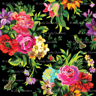 "8"" Floral Pop with Birds / Black"