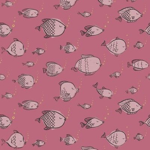 Aquarium Lullaby - Fishes on Pink with Yellow Bubbles