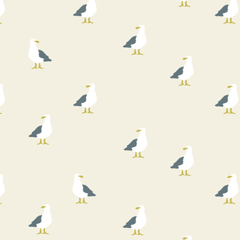 Seagulls in beige and grey fabric by lburleighdesigns on Spoonflower - custom fabric