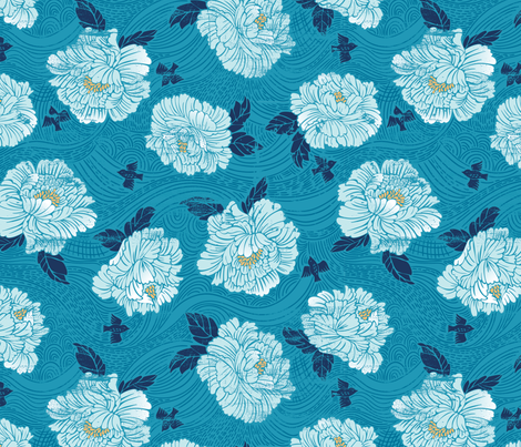 Indigo Woodcut Peonies fabric by cynthiafrenette on Spoonflower - custom fabric