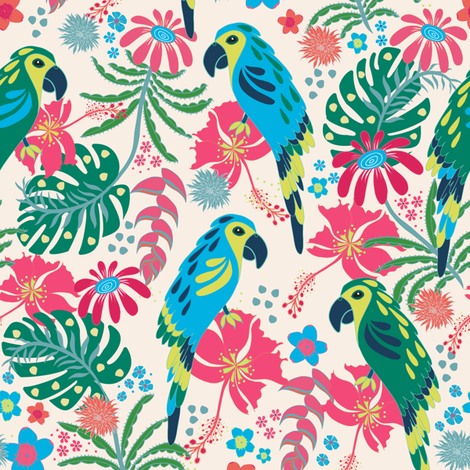 Tropical Parrots fabric by jill_o_connor on Spoonflower - custom fabric