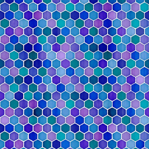 Jewel Tone Hexagon Watercolor Tiles