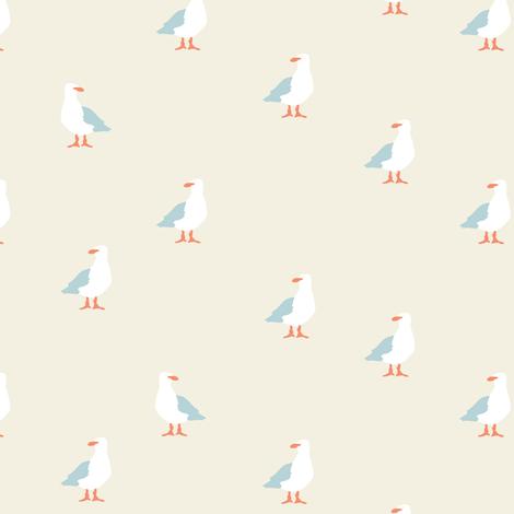 Seagulls in beige fabric by lburleighdesigns on Spoonflower - custom fabric