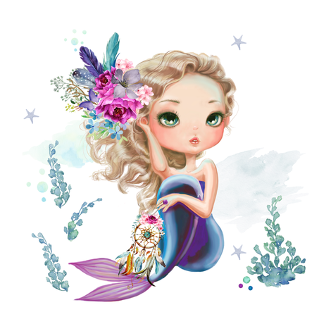 "8"" Mix & Match / Lilac Mermaid fabric by shopcabin on Spoonflower - custom fabric"