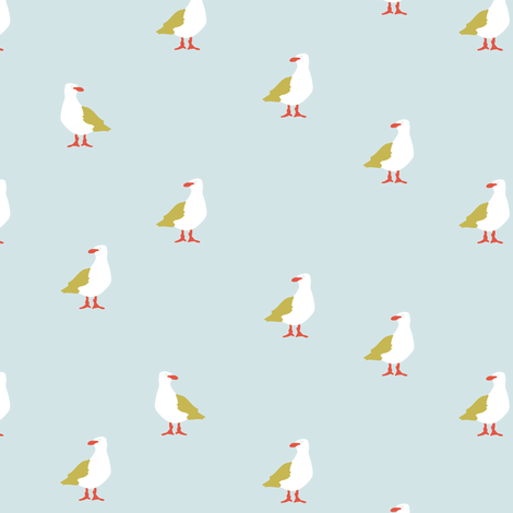 Seagulls in blue fabric by lburleighdesigns on Spoonflower - custom fabric