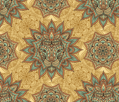 Lion Mandala fabric by svetlana_prikhnenko on Spoonflower - custom fabric