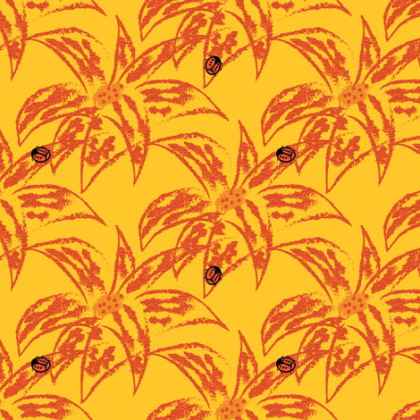Loud Lilies 2 with Ladybugs fabric by anniedeb on Spoonflower - custom fabric
