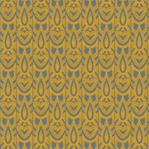 owl block print in yellow & gray