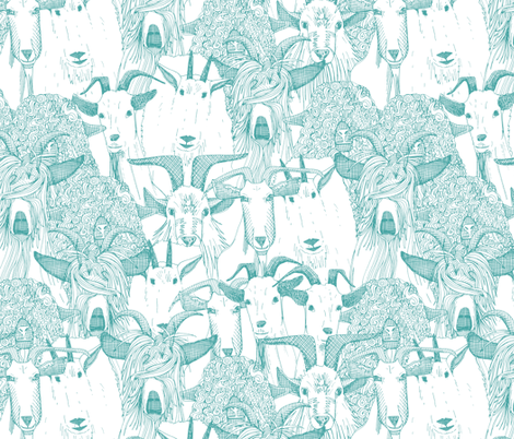 just goats teal blue fabric by scrummy on Spoonflower - custom fabric