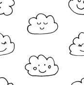 Smiling Clouds Black and White / Happy Sleepy Clouds