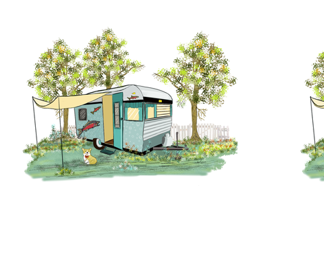 Large Print Camper with Corgi fabric by salzanos on Spoonflower - custom fabric