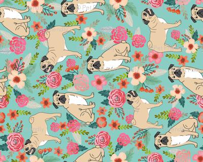 pug florals fabric cute pet pug dog fabrics mint florals