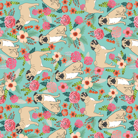 pug florals fabric cute pet pug dog fabrics mint florals fabric by petfriendly on Spoonflower - custom fabric
