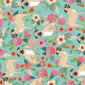 pug florals fabric cute pet pug dog fabrics mint florals