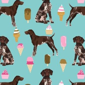 german shorthaired pointer ice cream fabric cute pet dogs design german shorthaired pointer fabric pattern