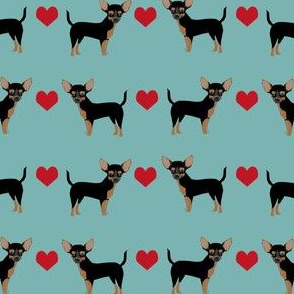 Chihuahua black and tan heart fabric pet dog breed
