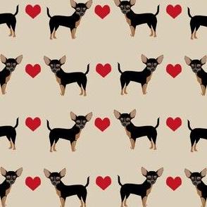 Chihuahua black and tan heart fabric pet dog breed