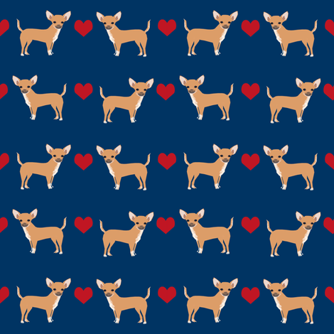 Chihuahua heart fabric pet dog breed fabric by petfriendly on Spoonflower - custom fabric