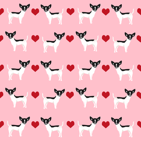 Chihuahua piebald heart fabric pet dog breed pnk fabric by petfriendly on Spoonflower - custom fabric