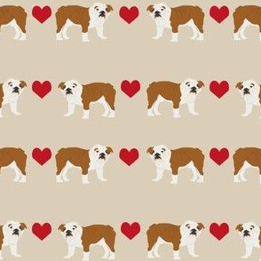 English Bulldog heart fabric pet dog breed