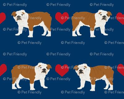 English Bulldog heart fabric pet dog breed