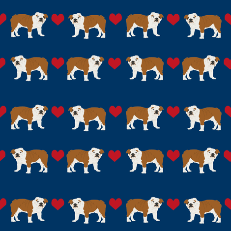 English Bulldog heart fabric pet dog breed fabric by petfriendly on Spoonflower - custom fabric
