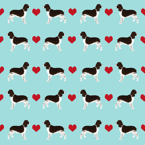 English Springer Spaniel heart fabric pet dog breed fabric by petfriendly on Spoonflower - custom fabric