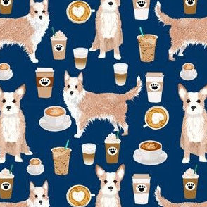portuguese podengo pequeno fabric dogs and coffees designs - navy