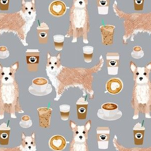 portuguese podengo pequeno fabric dogs and coffees designs - grey