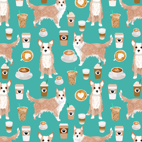 portuguese podengo pequeno fabric dogs and coffees designs - turquoise fabric by petfriendly on Spoonflower - custom fabric