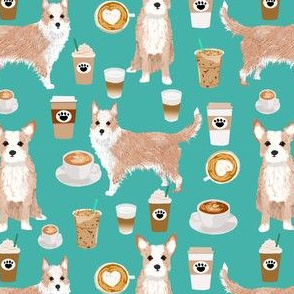 portuguese podengo pequeno fabric dogs and coffees designs - turquoise
