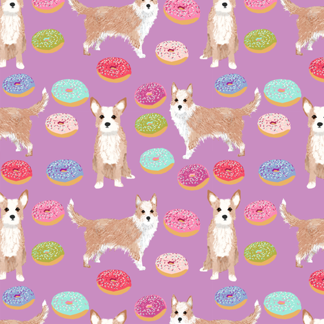 portuguese podengo pequeno fabric dogs and donuts designs - purple fabric by petfriendly on Spoonflower - custom fabric