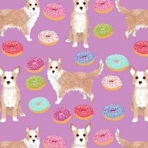 portuguese podengo pequeno fabric dogs and donuts designs - purple