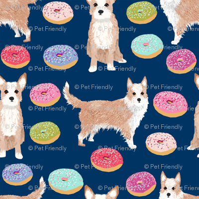 portuguese podengo pequeno fabric dogs and donuts designs - navy