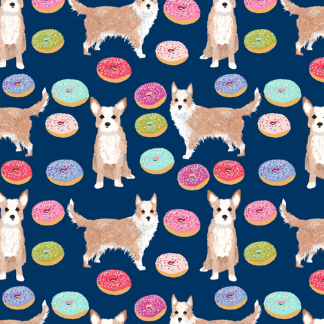 portuguese podengo pequeno fabric dogs and donuts designs - navy fabric by petfriendly on Spoonflower - custom fabric