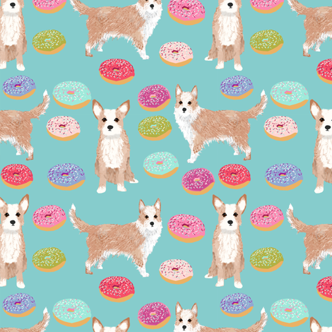 portuguese podengo pequeno fabric dogs and donuts designs - light blue fabric by petfriendly on Spoonflower - custom fabric