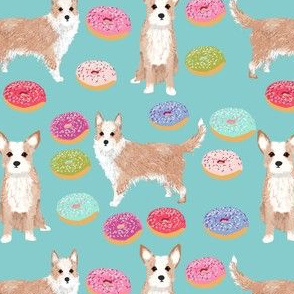 portuguese podengo pequeno fabric dogs and donuts designs - light blue