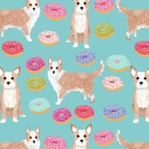 portuguese podengo pequeno fabric dogs and donuts designs - light blue