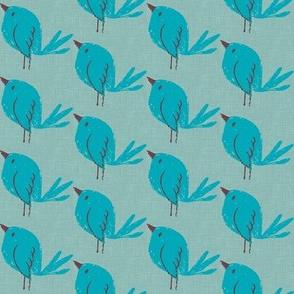 Blue Bird on Teal Linen