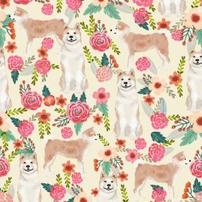 akita floral fabric dogs and florals flowers fabric - cream