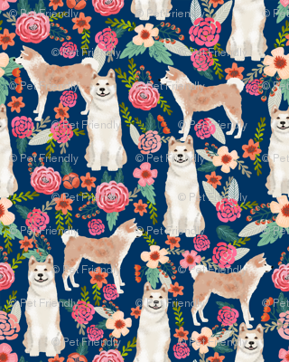 akita floral fabric dogs and florals flowers fabric - navy