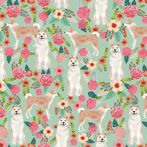 akita floral fabric dogs and florals flowers fabric - mint fabric by petfriendly on Spoonflower - custom fabric