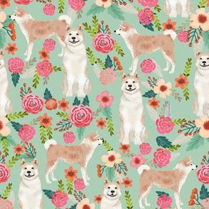 akita floral fabric dogs and florals flowers fabric - mint