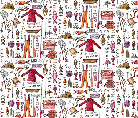 Gone fishing - pink tones fabric by mulberry_tree on Spoonflower - custom fabric
