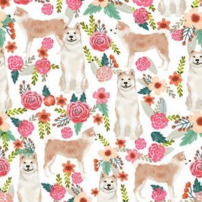 akita floral fabric dogs and florals flowers fabric - white