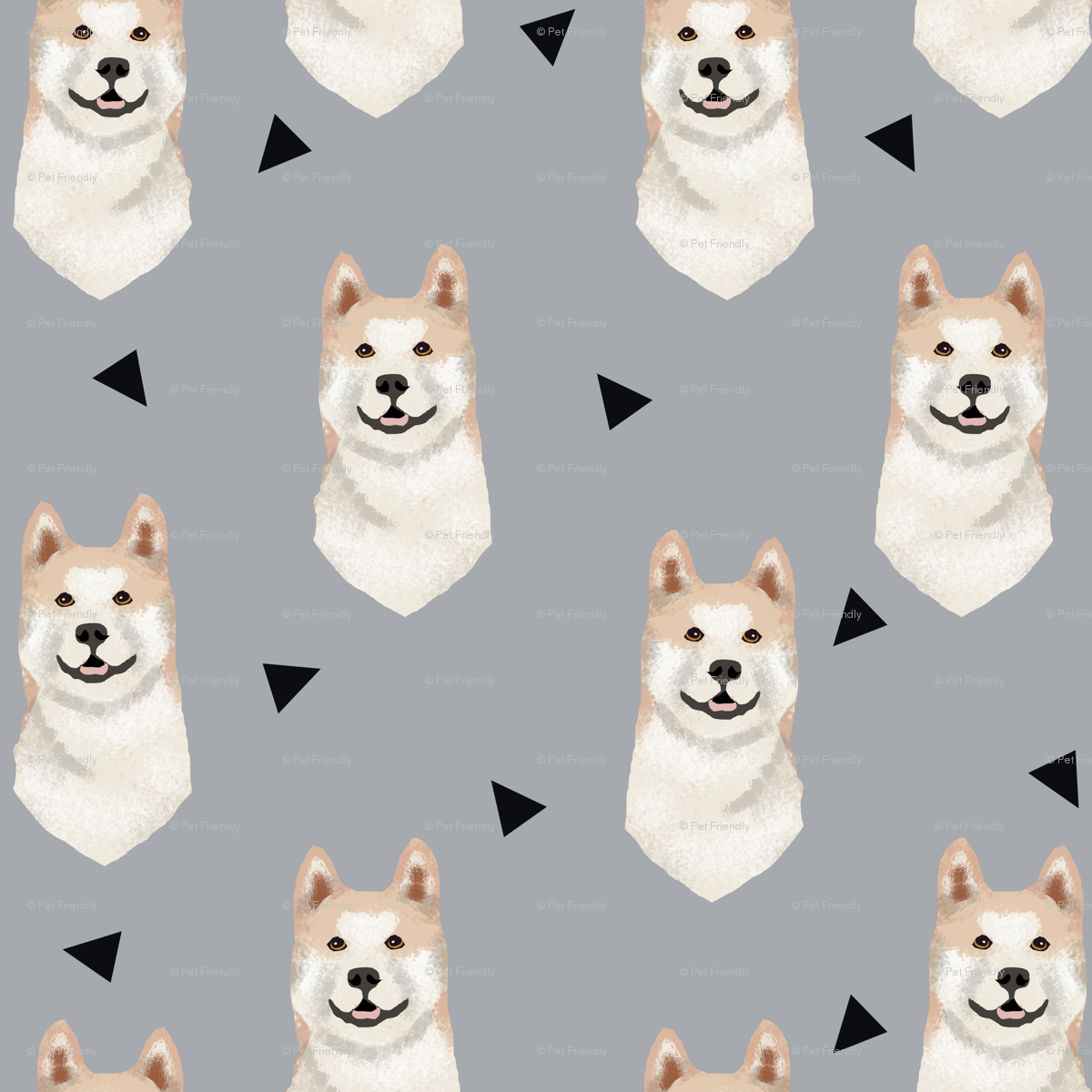 a1e95070f akita geometric fabric dogs and triangles design wallpaper - petfriendly -  Spoonflower