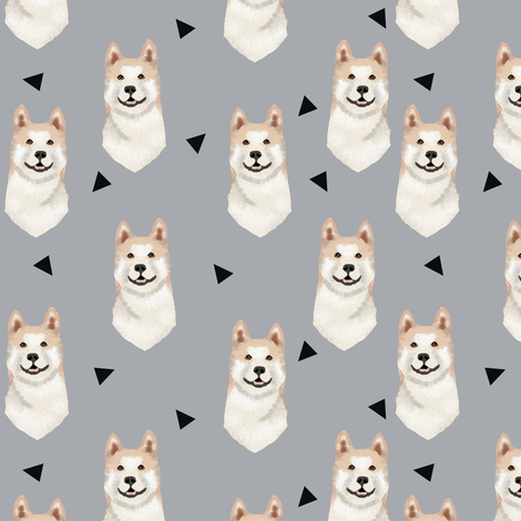 akita geometric fabric dogs and triangles design fabric by petfriendly on Spoonflower - custom fabric