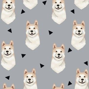 akita geometric fabric dogs and triangles design