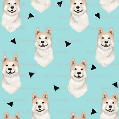 akita geometric fabric dogs and triangles design - blue tint
